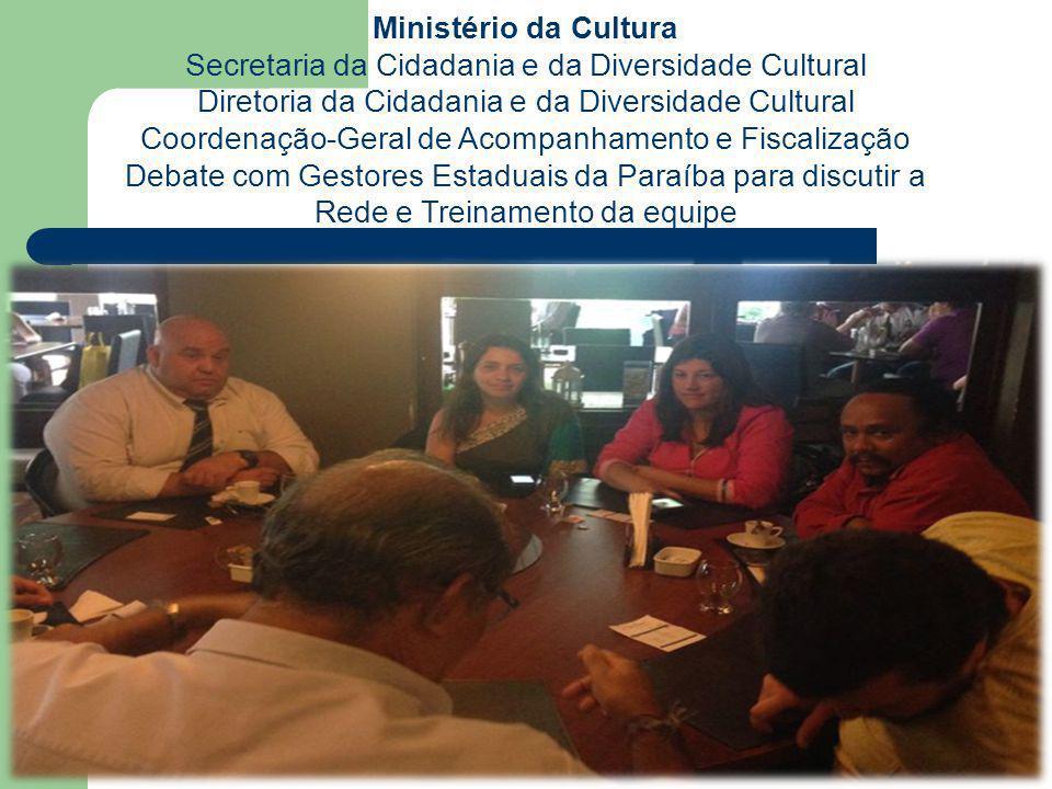 Ministério da Cultura Secretaria da Cidadania e da Diversidade Cultural Diretoria da Cidadania e da Diversidade Cultural Coordenação-Geral de Acompanhamento e Fiscalização