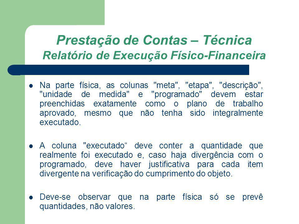Prestação de Contas – Técnica Relatório de Execução Físico-Financeira