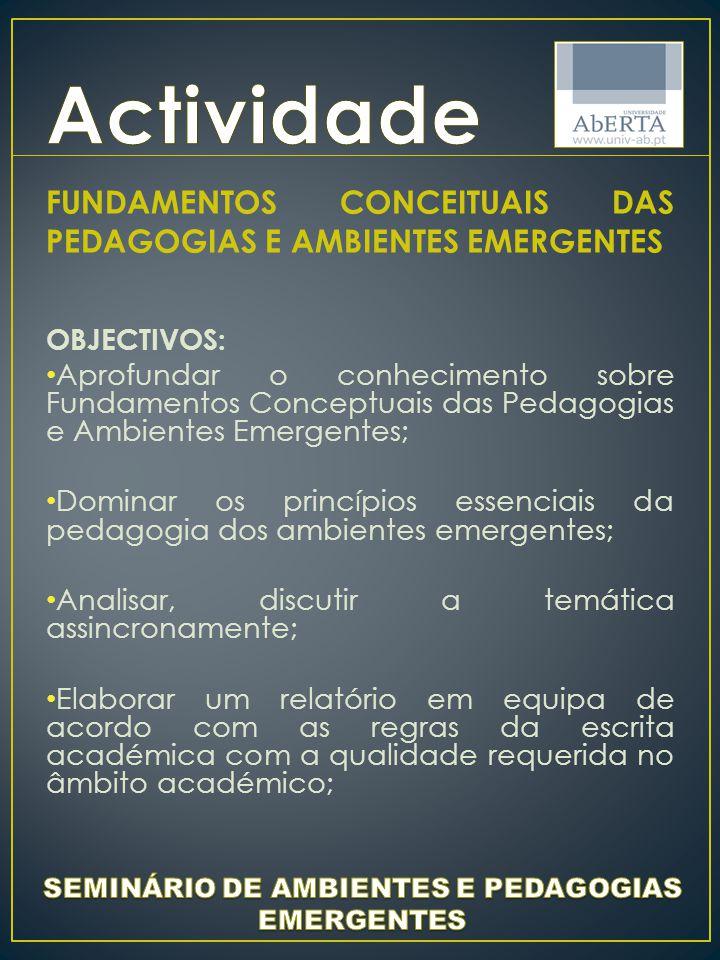 SEMINÁRIO DE AMBIENTES E PEDAGOGIAS EMERGENTES