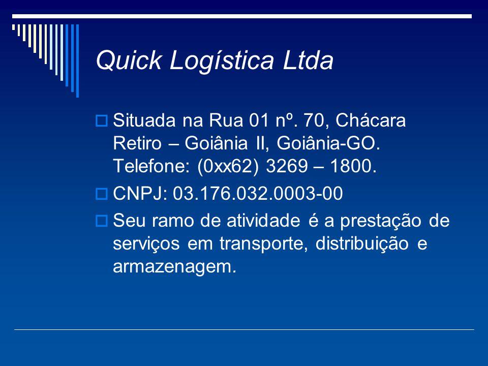 Quick Logística Ltda Situada na Rua 01 nº. 70, Chácara Retiro – Goiânia II, Goiânia-GO. Telefone: (0xx62) 3269 – 1800.
