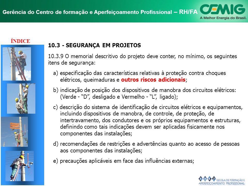 TÍTULO ÍNDICE 10.3 - SEGURANÇA EM PROJETOS