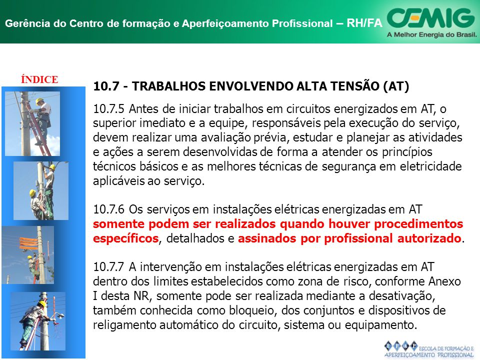 TÍTULO 10.7 - TRABALHOS ENVOLVENDO ALTA TENSÃO (AT)