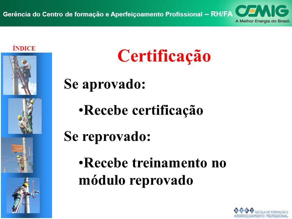 Certificação Se aprovado: Recebe certificação Se reprovado: