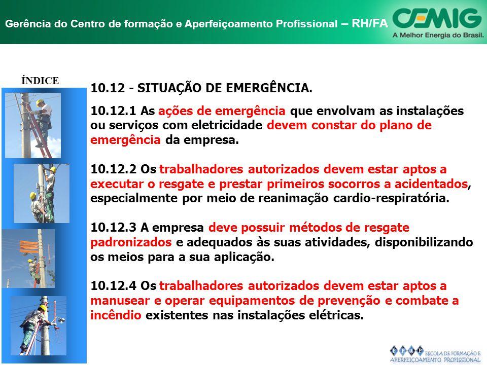 10.12 - SITUAÇÃO DE EMERGÊNCIA.