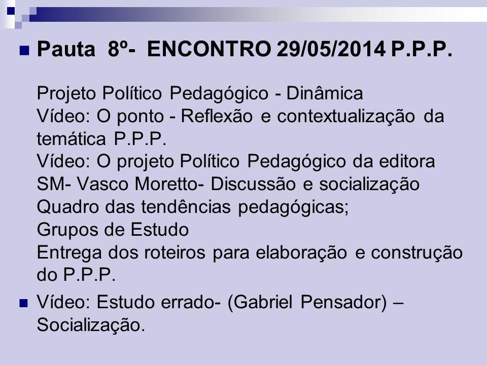 Pauta 8º- ENCONTRO 29/05/2014 P. P. P