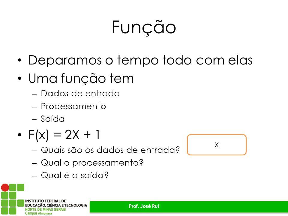 Função Deparamos o tempo todo com elas Uma função tem F(x) = 2X + 1