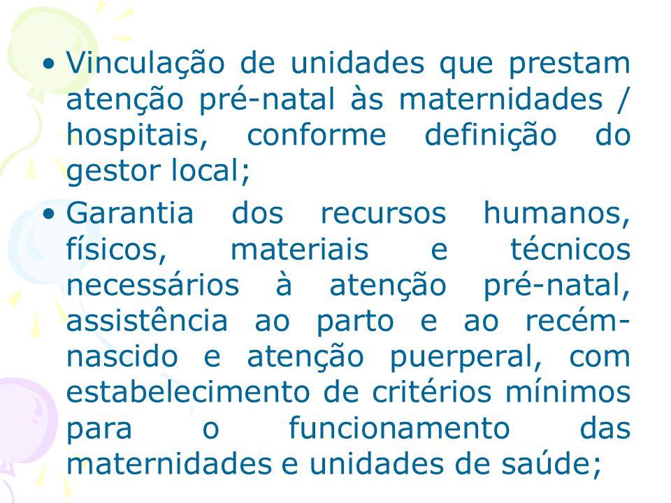 Vinculação de unidades que prestam atenção pré-natal às maternidades / hospitais, conforme definição do gestor local;