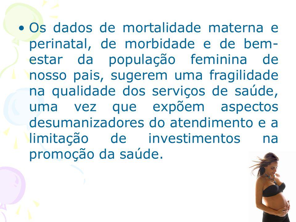 Os dados de mortalidade materna e perinatal, de morbidade e de bem-estar da população feminina de nosso pais, sugerem uma fragilidade na qualidade dos serviços de saúde, uma vez que expõem aspectos desumanizadores do atendimento e a limitação de investimentos na promoção da saúde.