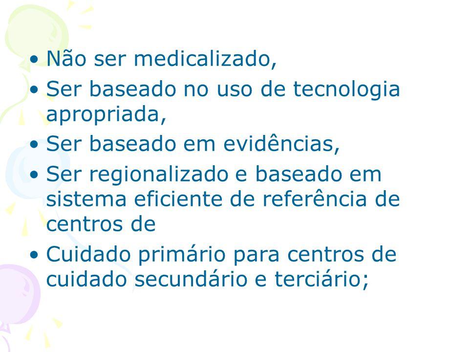 Não ser medicalizado, Ser baseado no uso de tecnologia apropriada, Ser baseado em evidências,
