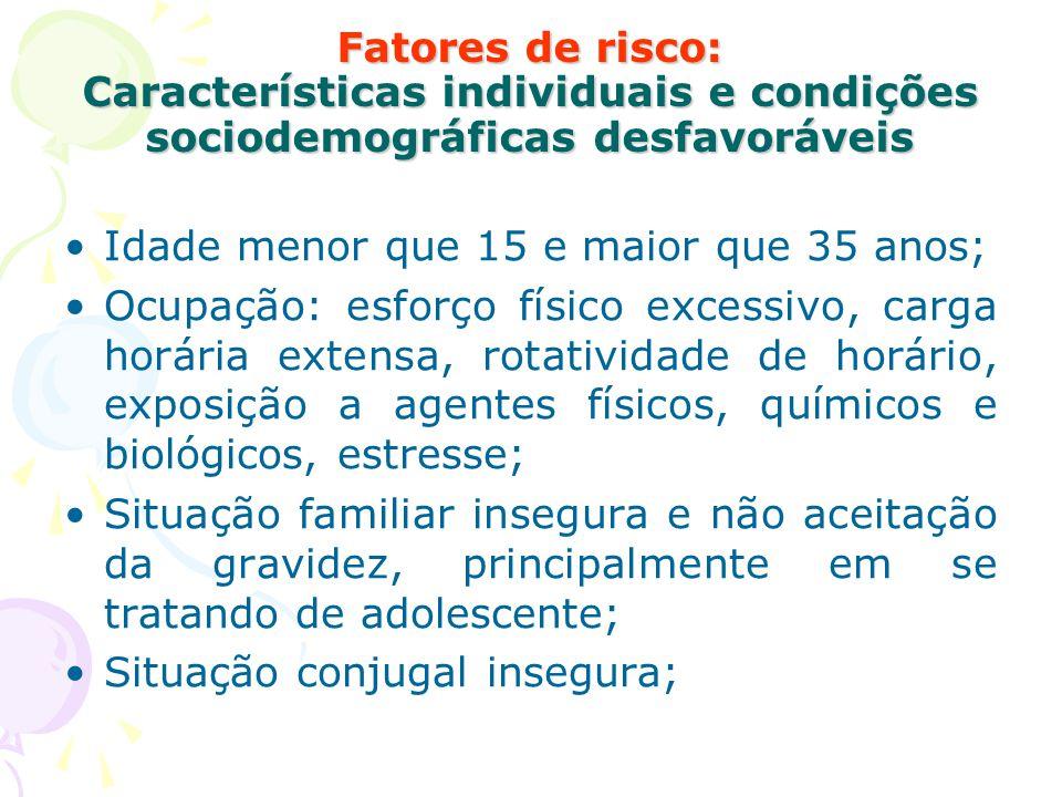 Fatores de risco: Características individuais e condições sociodemográficas desfavoráveis