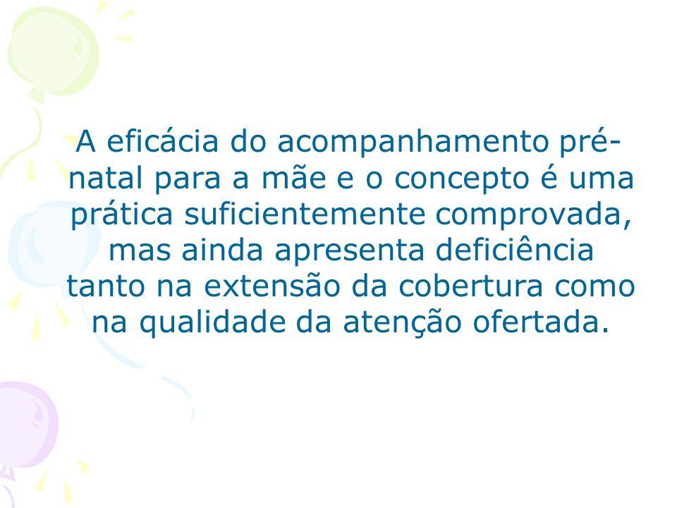 A eficácia do acompanhamento pré-natal para a mãe e o concepto é uma prática suficientemente comprovada, mas ainda apresenta deficiência tanto na extensão da cobertura como na qualidade da atenção ofertada.
