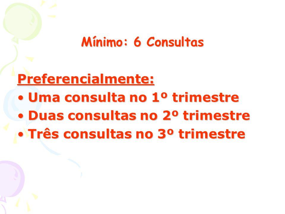 Mínimo: 6 Consultas Preferencialmente: Uma consulta no 1º trimestre. Duas consultas no 2º trimestre.