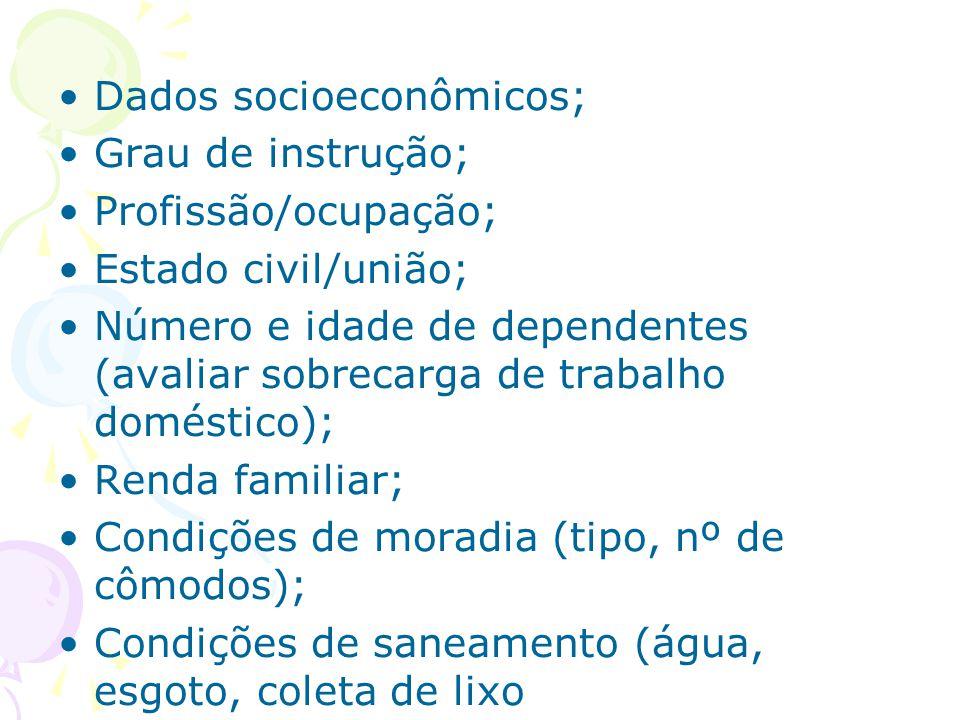 Dados socioeconômicos;