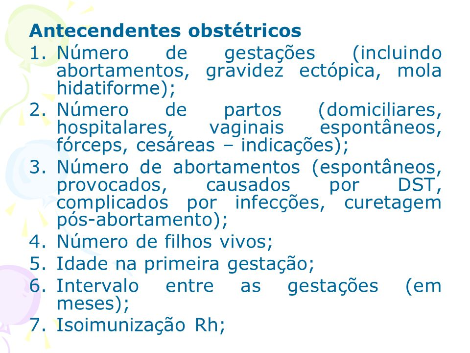 Antecendentes obstétricos