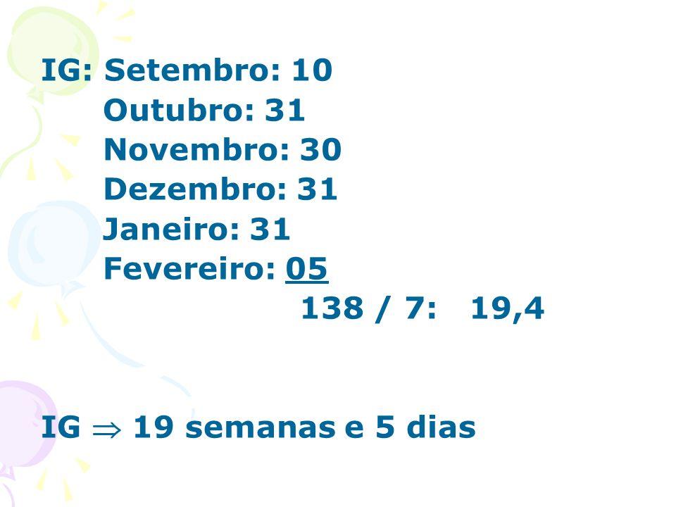 IG: Setembro: 10 Outubro: 31. Novembro: 30. Dezembro: 31. Janeiro: 31. Fevereiro: 05. 138 / 7: 19,4.