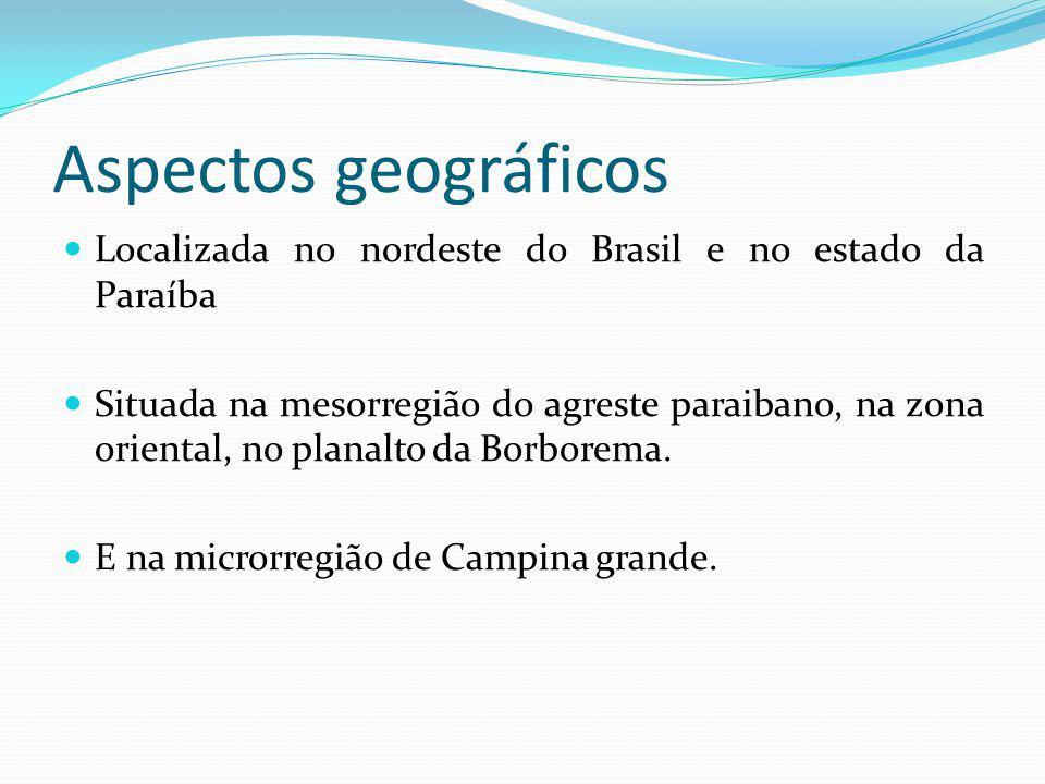 Aspectos geográficos Localizada no nordeste do Brasil e no estado da Paraíba.
