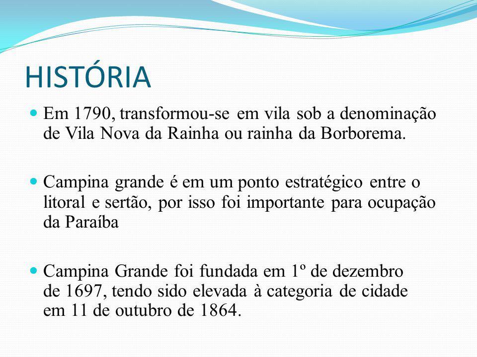 HISTÓRIA Em 1790, transformou-se em vila sob a denominação de Vila Nova da Rainha ou rainha da Borborema.
