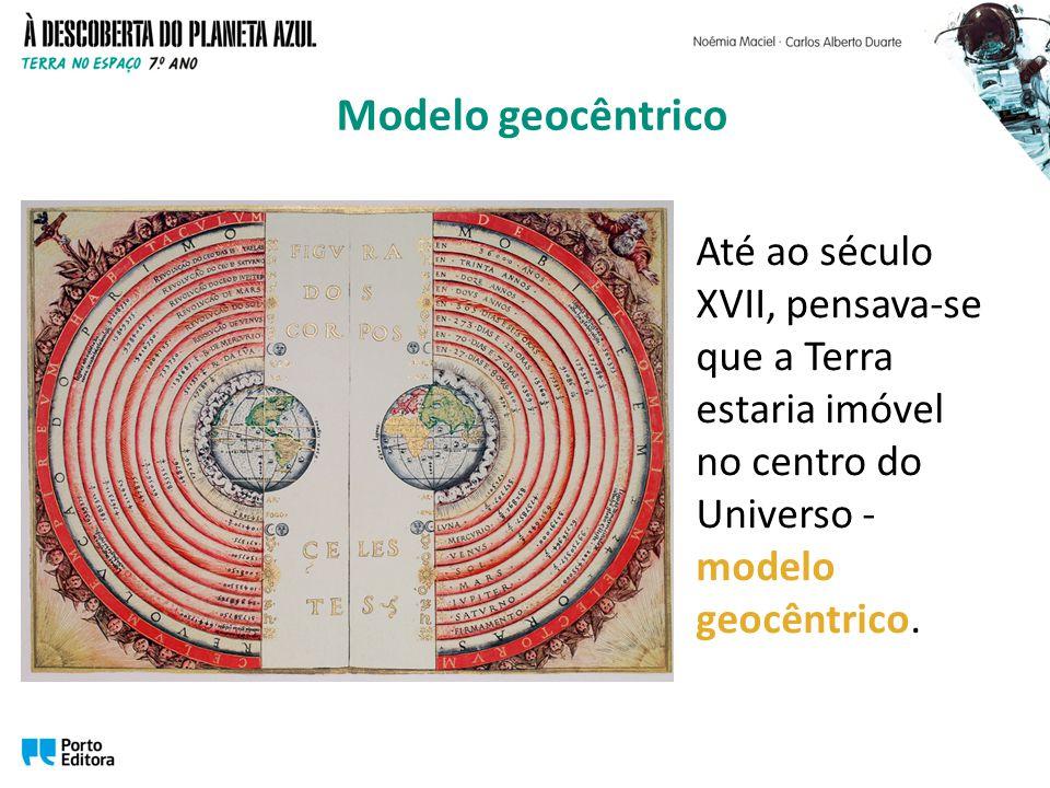 Modelo geocêntrico Até ao século XVII, pensava-se que a Terra estaria imóvel no centro do Universo - modelo geocêntrico.