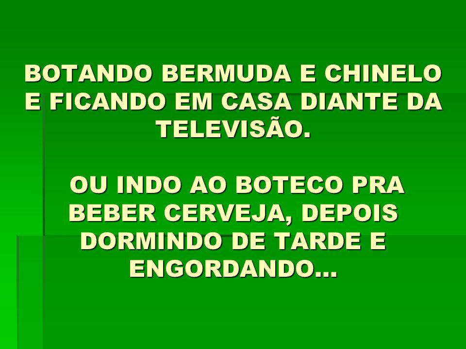 BOTANDO BERMUDA E CHINELO E FICANDO EM CASA DIANTE DA TELEVISÃO