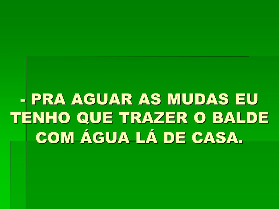 - PRA AGUAR AS MUDAS EU TENHO QUE TRAZER O BALDE COM ÁGUA LÁ DE CASA.