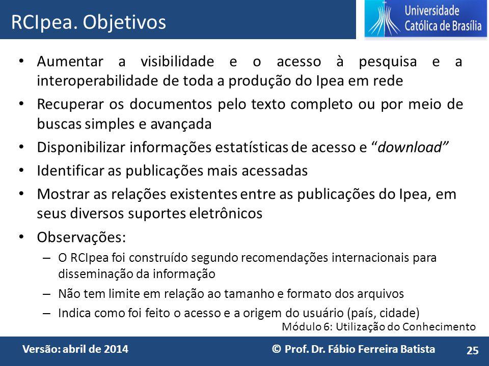 RCIpea. Objetivos Aumentar a visibilidade e o acesso à pesquisa e a interoperabilidade de toda a produção do Ipea em rede.