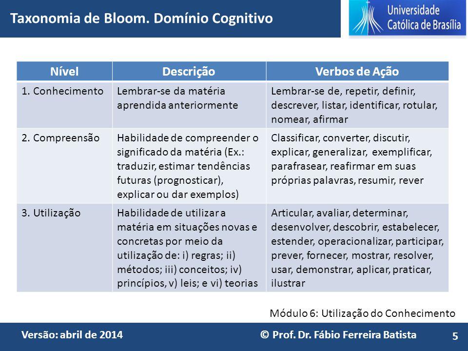 Taxonomia de Bloom. Domínio Cognitivo