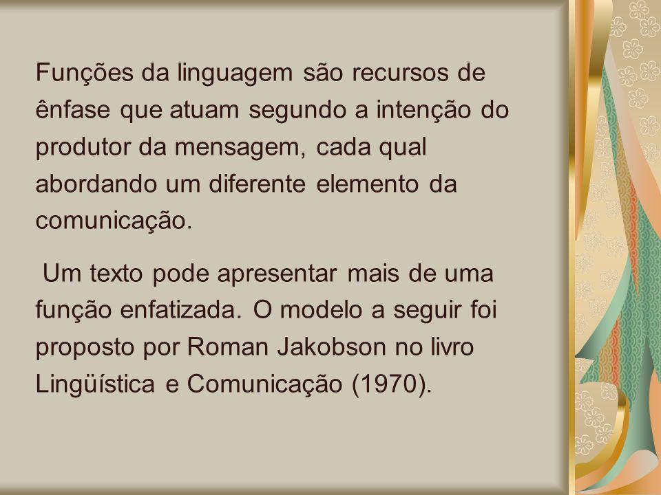 Funções da linguagem são recursos de ênfase que atuam segundo a intenção do produtor da mensagem, cada qual abordando um diferente elemento da comunicação.