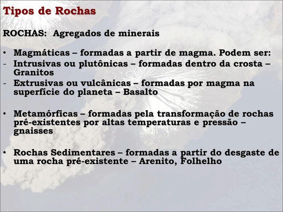 Tipos de Rochas ROCHAS: Agregados de minerais