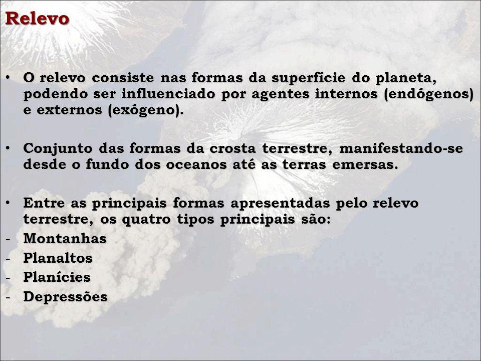 Relevo O relevo consiste nas formas da superfície do planeta, podendo ser influenciado por agentes internos (endógenos) e externos (exógeno).