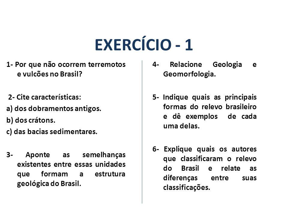 EXERCÍCIO - 1 1- Por que não ocorrem terremotos e vulcões no Brasil