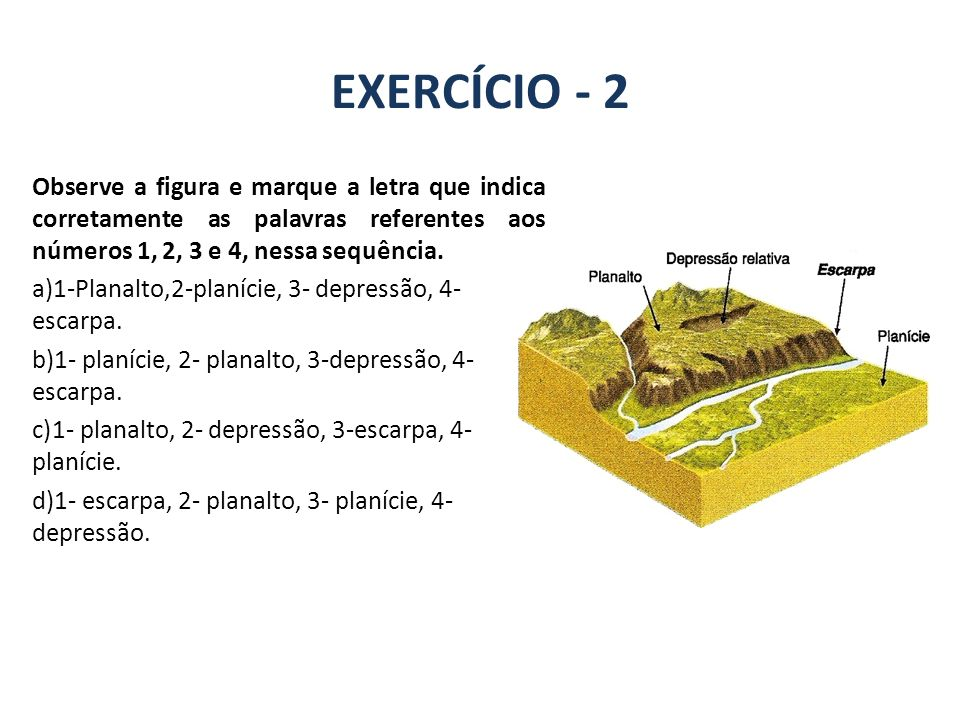GEOGRAFIA, 7º Ano A estrutura geológica do Brasil e sua relação com a formação do relevo. EXERCÍCIO - 2.
