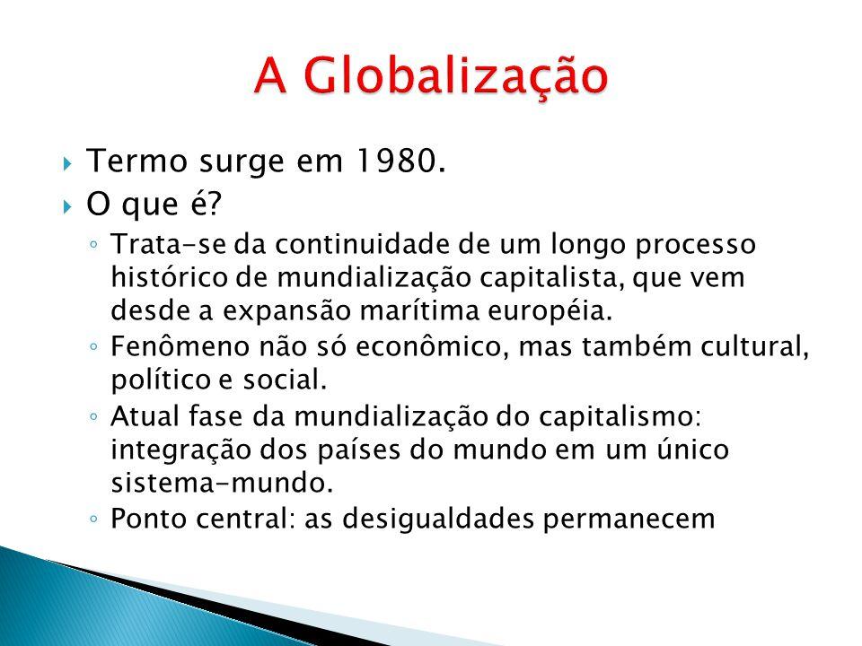 A Globalização Termo surge em 1980. O que é