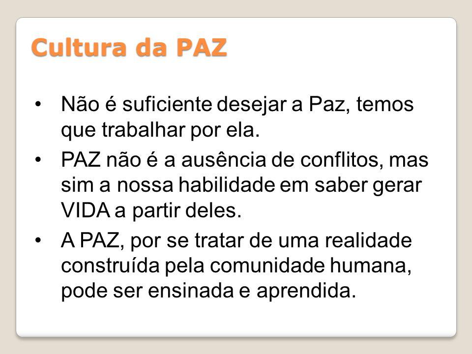 Cultura da PAZ Não é suficiente desejar a Paz, temos que trabalhar por ela.