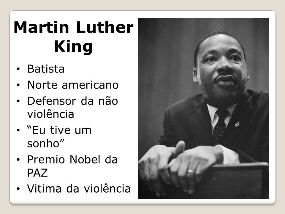 Martin Luther King Batista Norte americano Defensor da não violência