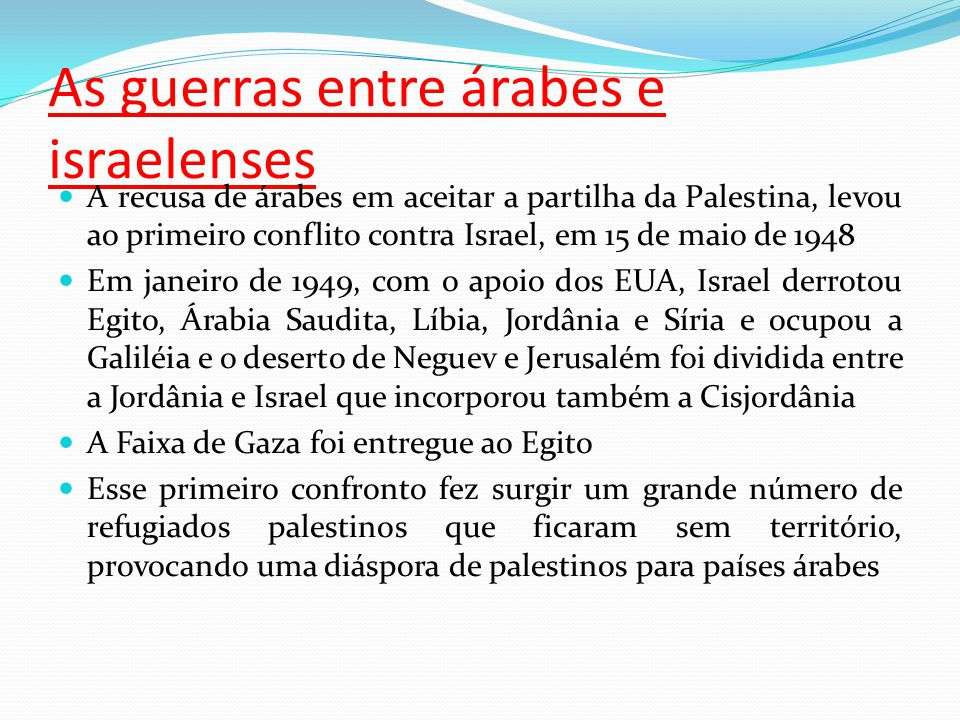 As guerras entre árabes e israelenses