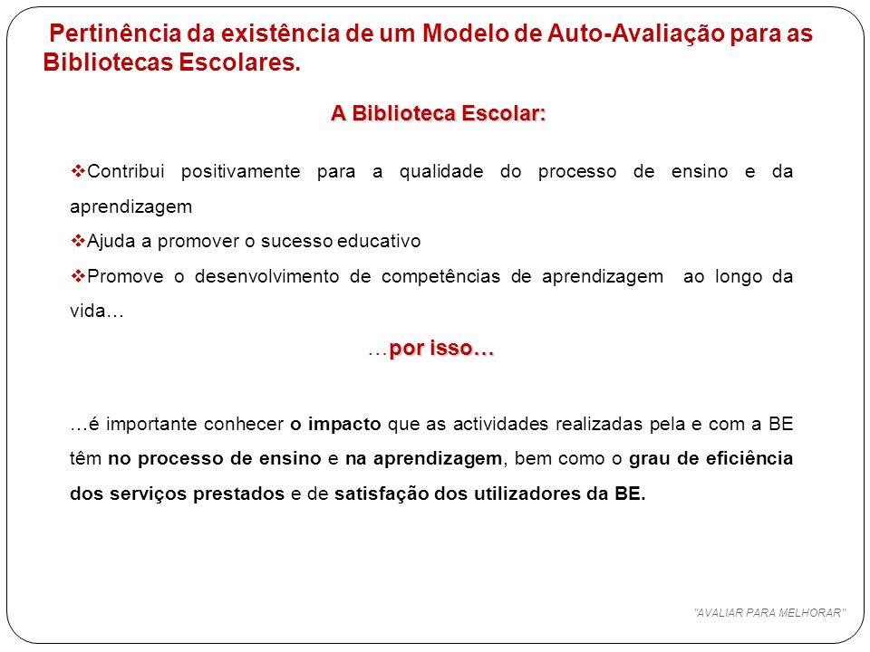 Pertinência da existência de um Modelo de Auto-Avaliação para as Bibliotecas Escolares.