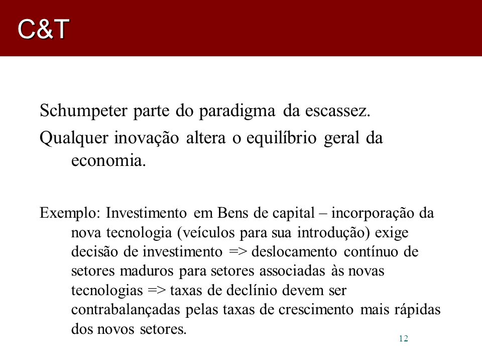 C&T Schumpeter parte do paradigma da escassez.
