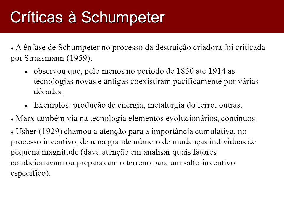 Críticas à Schumpeter A ênfase de Schumpeter no processo da destruição criadora foi criticada por Strassmann (1959):