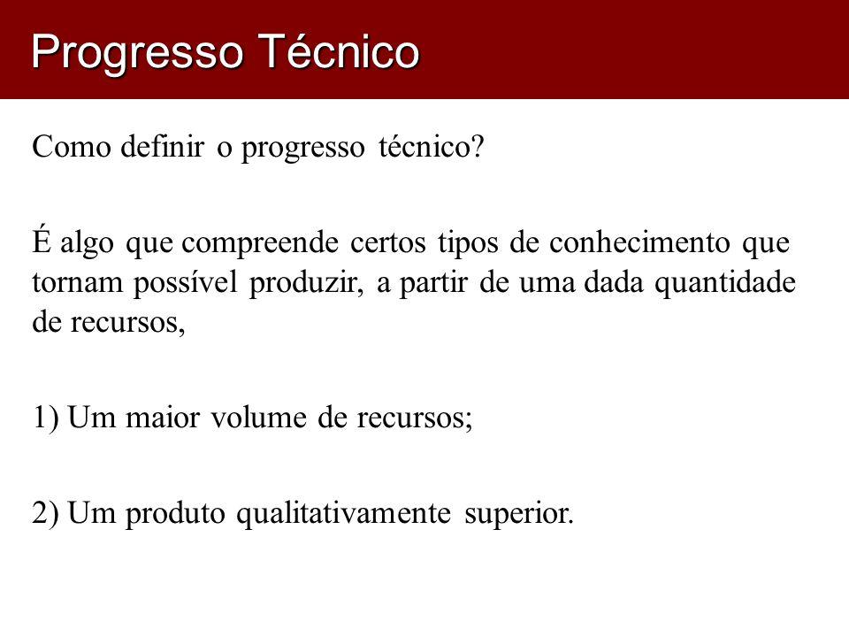 Progresso Técnico Como definir o progresso técnico