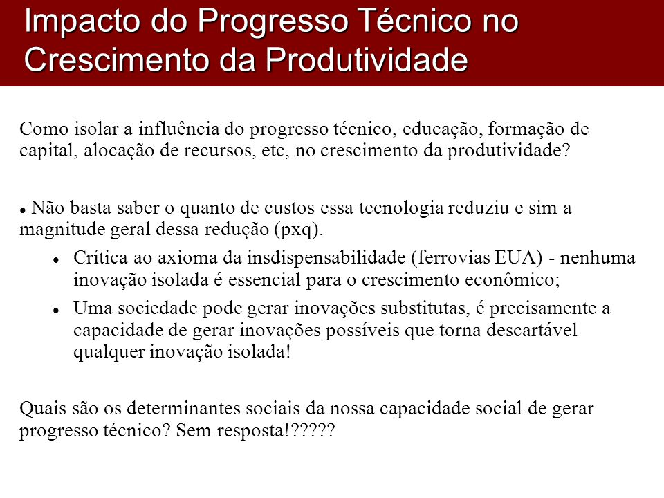 Impacto do Progresso Técnico no Crescimento da Produtividade