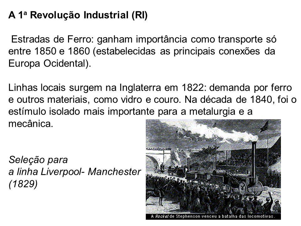 A 1a Revolução Industrial (RI) Estradas de Ferro: ganham importância como transporte só entre 1850 e 1860 (estabelecidas as principais conexões da Europa Ocidental).
