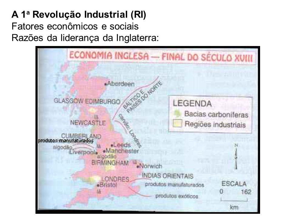 A 1a Revolução Industrial (RI) Fatores econômicos e sociais Razões da liderança da Inglaterra: