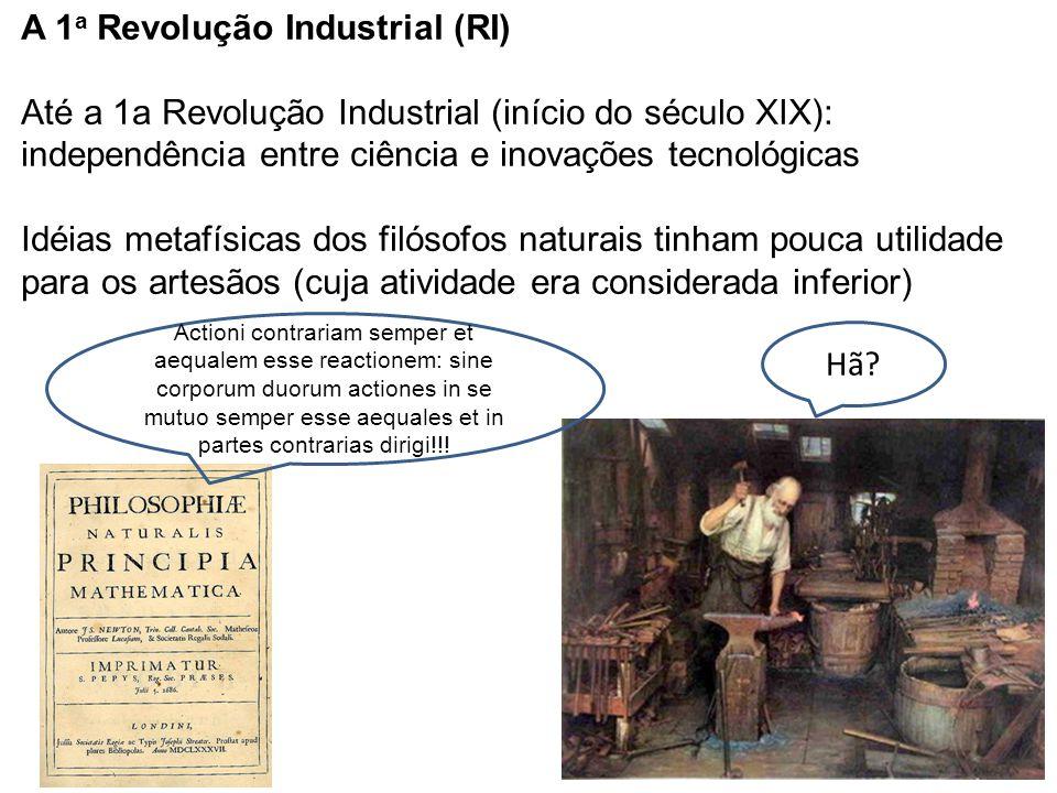 A 1a Revolução Industrial (RI) Até a 1a Revolução Industrial (início do século XIX): independência entre ciência e inovações tecnológicas Idéias metafísicas dos filósofos naturais tinham pouca utilidade para os artesãos (cuja atividade era considerada inferior)