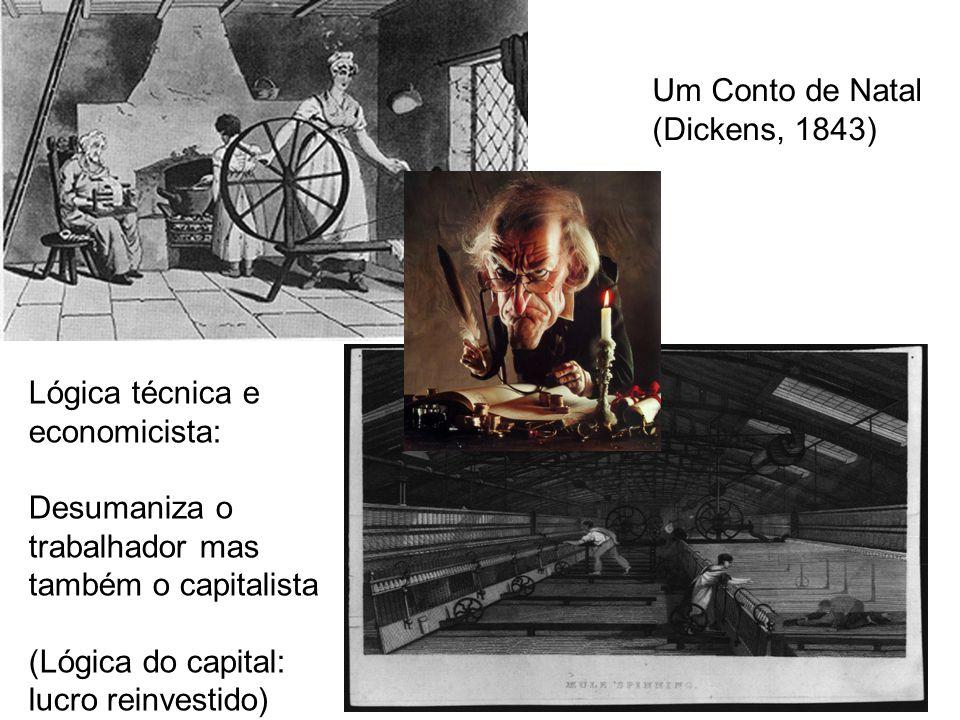 Um Conto de Natal (Dickens, 1843) Lógica técnica e economicista: Desumaniza o trabalhador mas também o capitalista.