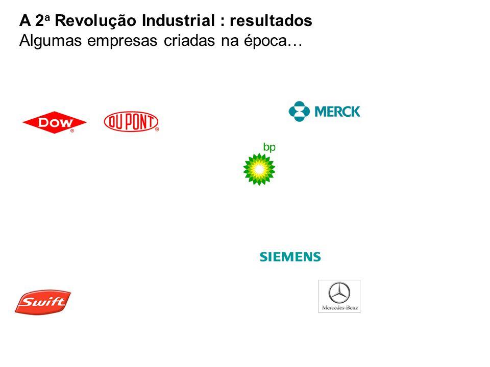 A 2a Revolução Industrial : resultados Algumas empresas criadas na época…