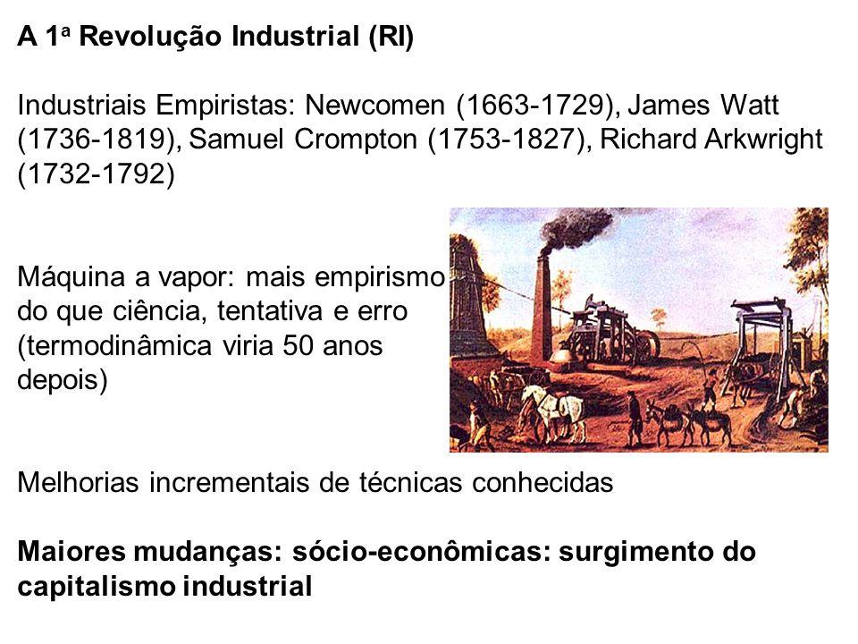 A 1a Revolução Industrial (RI) Industriais Empiristas: Newcomen (1663-1729), James Watt (1736-1819), Samuel Crompton (1753-1827), Richard Arkwright (1732-1792) Máquina a vapor: mais empirismo do que ciência, tentativa e erro (termodinâmica viria 50 anos depois) Melhorias incrementais de técnicas conhecidas Maiores mudanças: sócio-econômicas: surgimento do capitalismo industrial