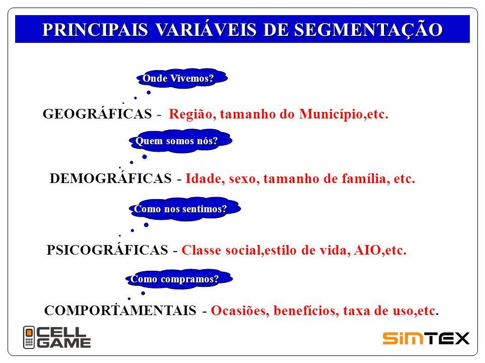 PRINCIPAIS VARIÁVEIS DE SEGMENTAÇÃO
