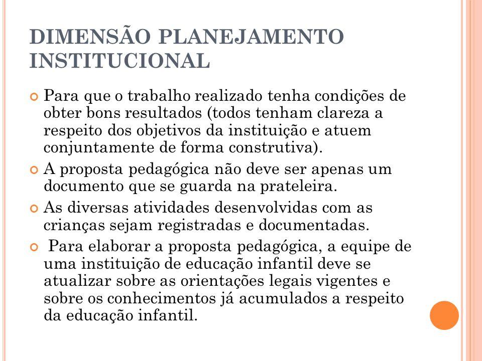 DIMENSÃO PLANEJAMENTO INSTITUCIONAL