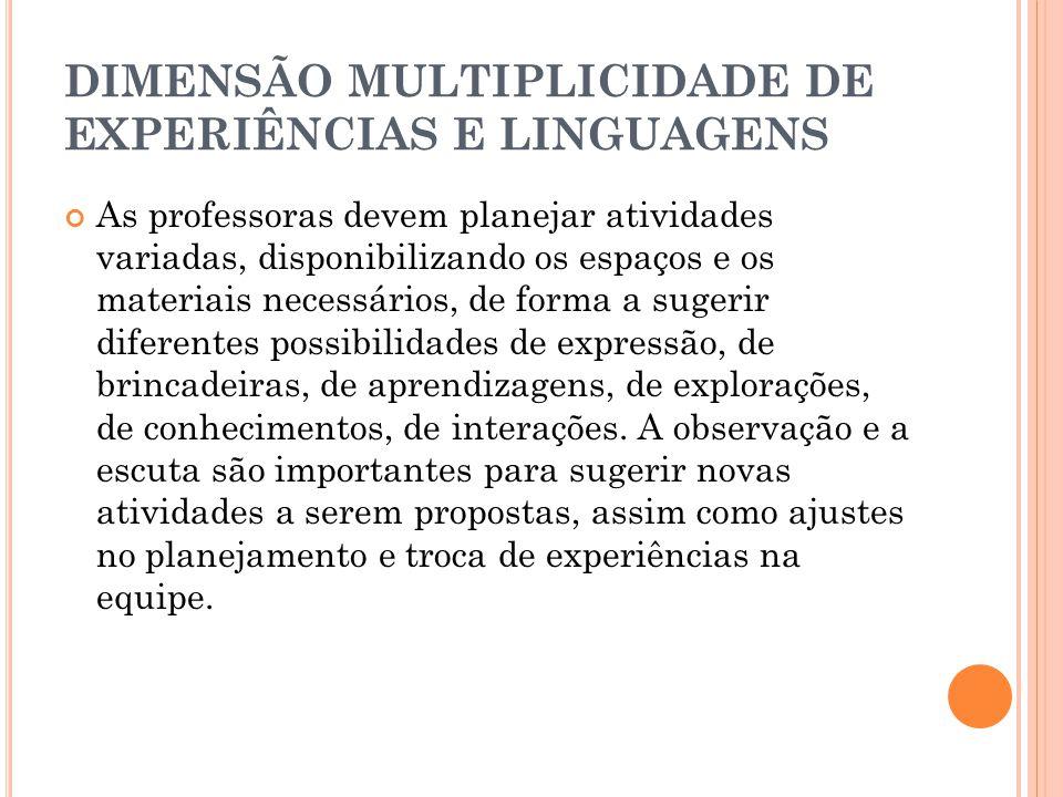 DIMENSÃO MULTIPLICIDADE DE EXPERIÊNCIAS E LINGUAGENS