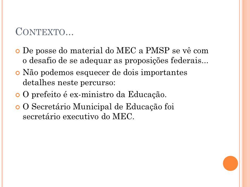 Contexto... De posse do material do MEC a PMSP se vê com o desafio de se adequar as proposições federais...